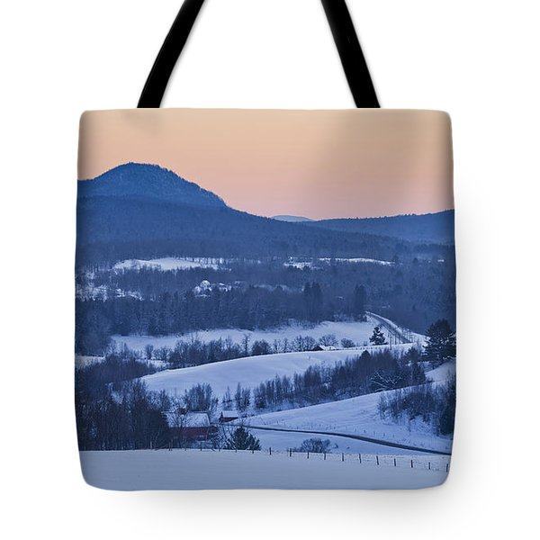 Pleasant Valley Winter Twilight Tote Bag by Alan L Graham