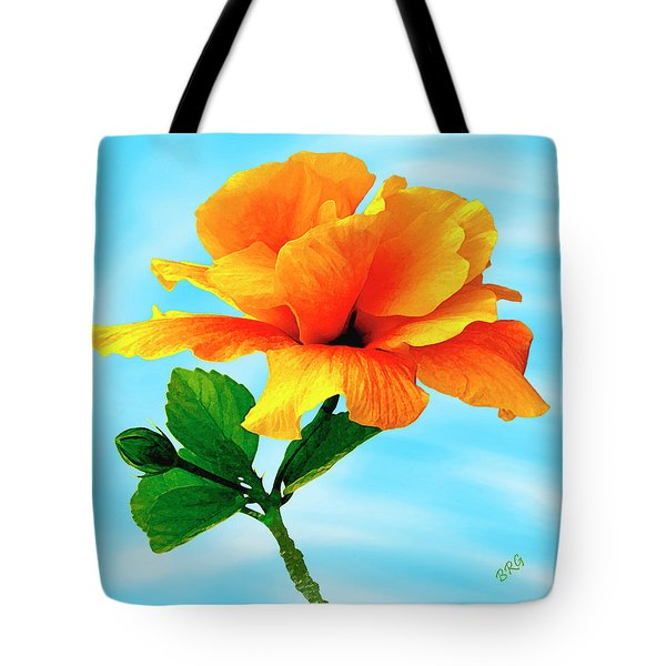 Pleasure - Yellow Double Hibiscus Tote Bag by Ben and Raisa Gertsberg