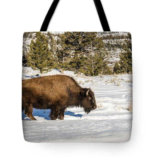 Plodding Through The Snow Tote Bag