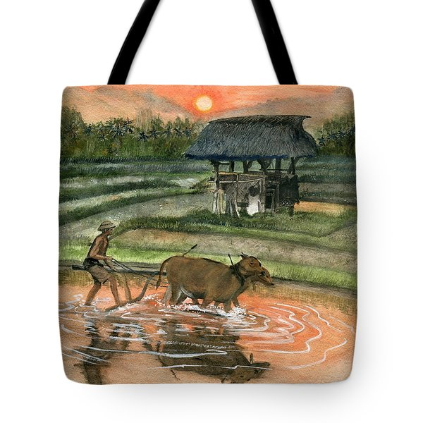 Plowing The Ricefield Tote Bag