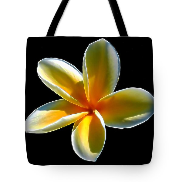 Plumeria Against Black Tote Bag by Pamela Walton