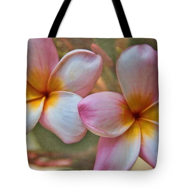 Tote Bag featuring the photograph Plumeria Pair by Peggy Hughes