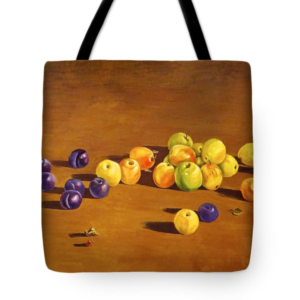 Plums And Apples Still Life Tote Bag