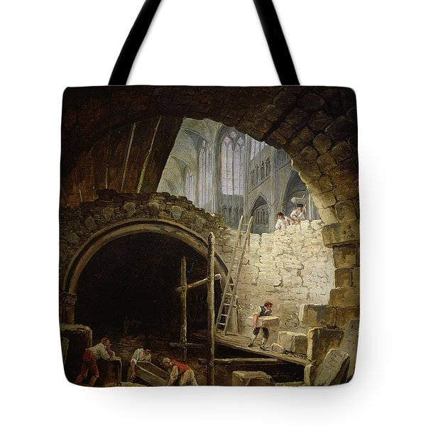 Plundering The Royal Vaults At St. Denis In October 1793 Oil On Canvas Tote Bag