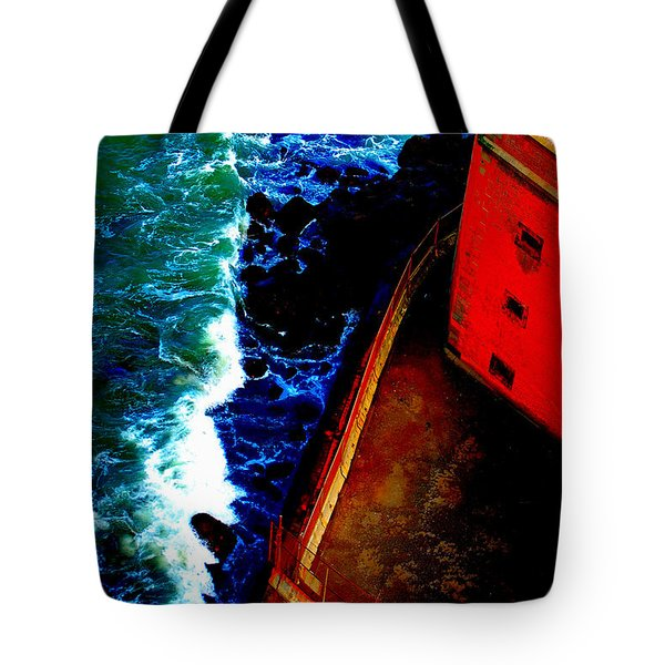 Plunging From Golden Gate Tote Bag by Holly Blunkall