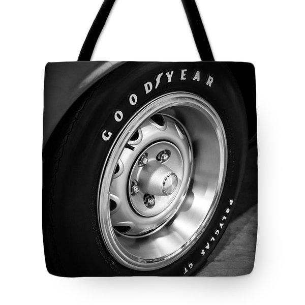 Plymouth Cuda Rallye Wheel Tote Bag by Paul Velgos