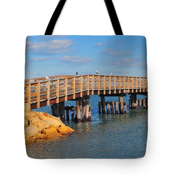 Plymouth Harbor Breakwater Tote Bag by Catherine Reusch  Daley