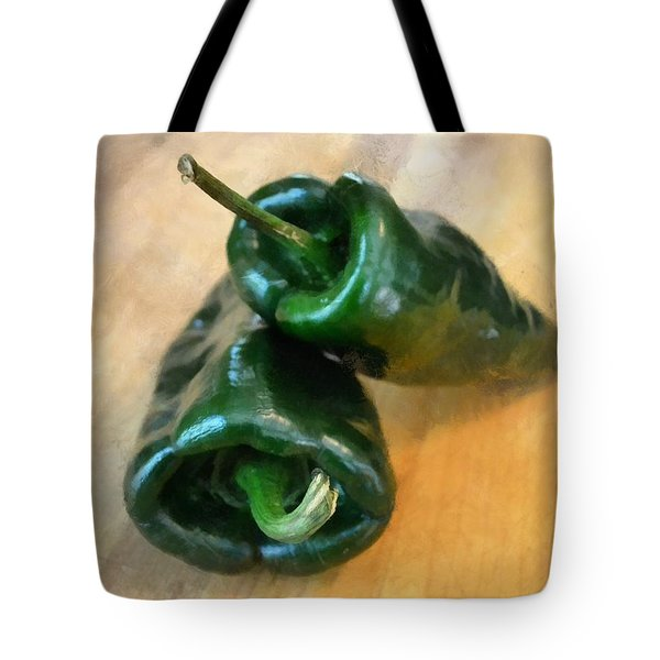 Poblanos Tote Bag by Michelle Calkins