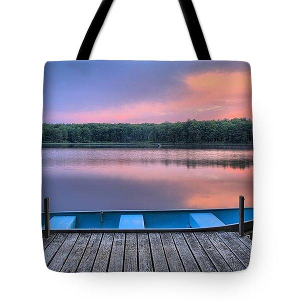 Poconos Lake Whitney Sunset Rowboat Tote Bag