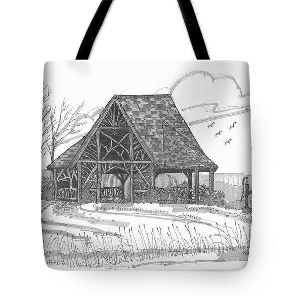 Tote Bag featuring the drawing Poet's Walk 1 by Richard Wambach