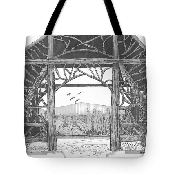 Tote Bag featuring the drawing Poet's Walk 2 by Richard Wambach