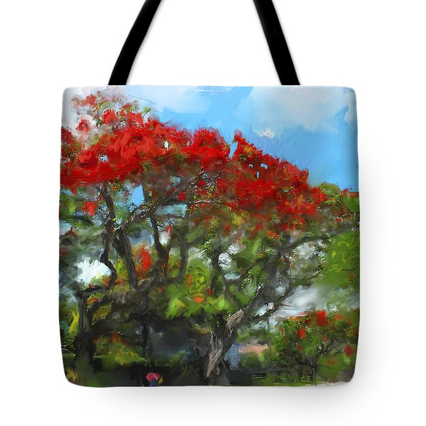 Tote Bag featuring the painting Poinciana Trees Of Coral Gables by Ted Azriel