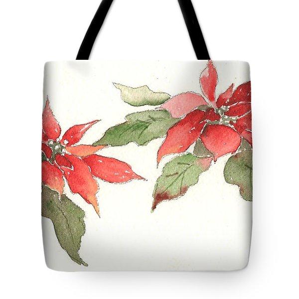 Poinsettias Tote Bag by Christine Lathrop
