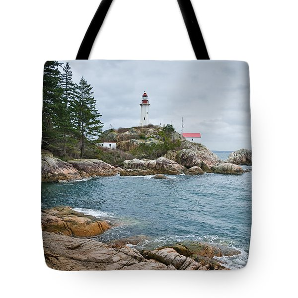 Point Atkinson Lighthouse And Rocky Shore Tote Bag