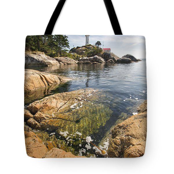 Tote Bag featuring the photograph Point Atkinson Lighthouse In Vancouver Bc Vertical by JPLDesigns