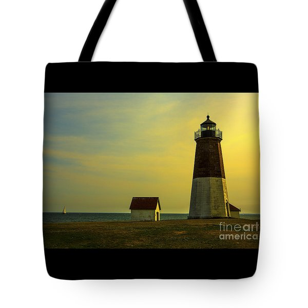 Point Judith Lighthouse Tote Bag by Diane Diederich