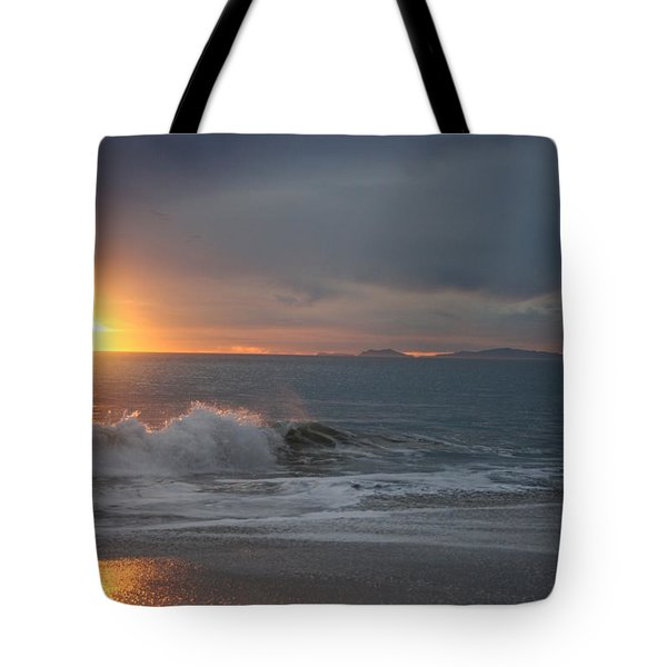 Tote Bag featuring the photograph Point Mugu 1-9-10 Sun Setting With Surf by Ian Donley