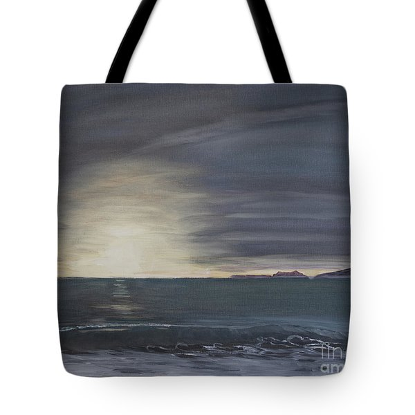 Tote Bag featuring the painting Point Mugu Sunset by Ian Donley