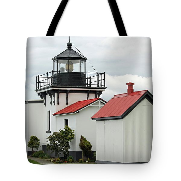 Point No Point Lighthouse Tote Bag by E Faithe Lester