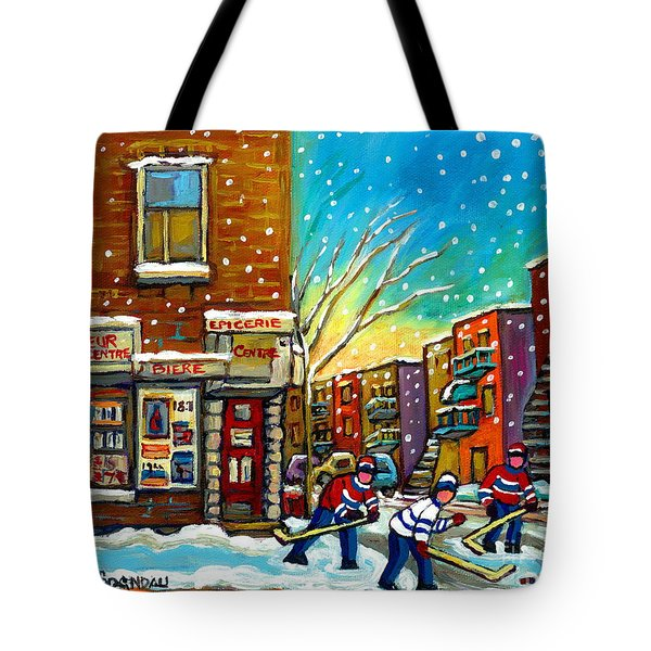 Pointe St. Charles Hockey Game At The Depanneur Montreal City Scenes Tote Bag by Carole Spandau