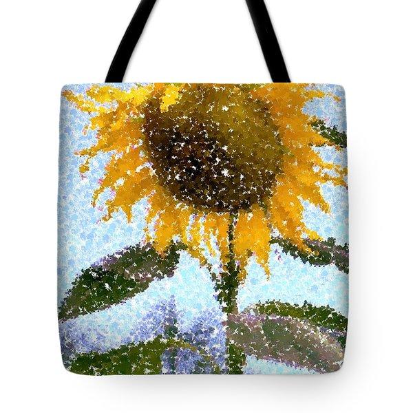 Pointillist Sunflower In Sun City Tote Bag