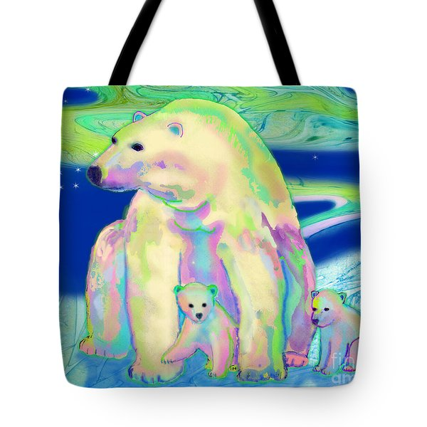 Polar Bear Aurora Tote Bag