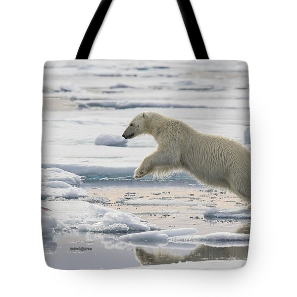 Polar Bear Jumping  Tote Bag