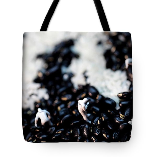 Police Investigating Question Mark On Bean Field Tote Bag by Paul Ge