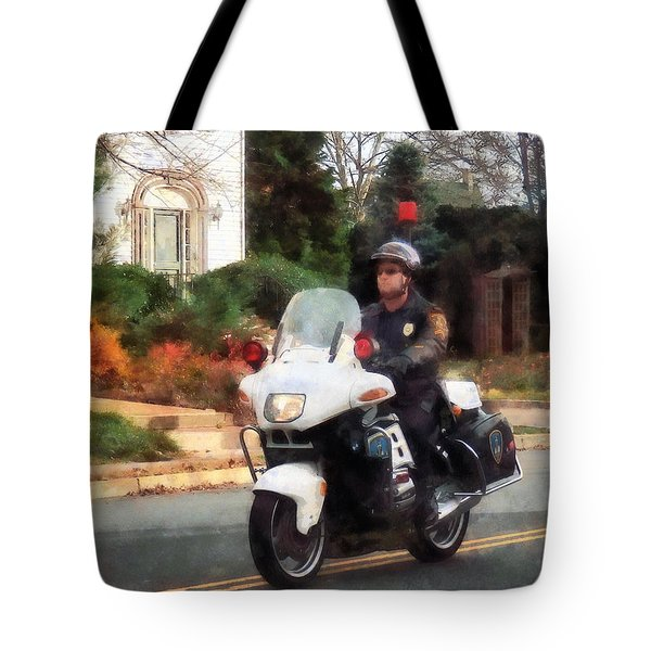 Police - Motorcycle Cop On Patrol Tote Bag by Susan Savad