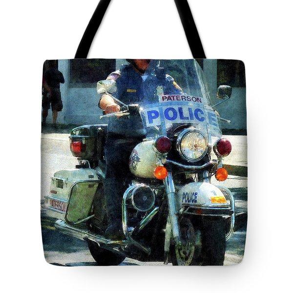 Police - Motorcycle Cop Tote Bag by Susan Savad
