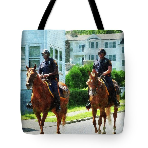 Police - Two Mounted Police Tote Bag by Susan Savad