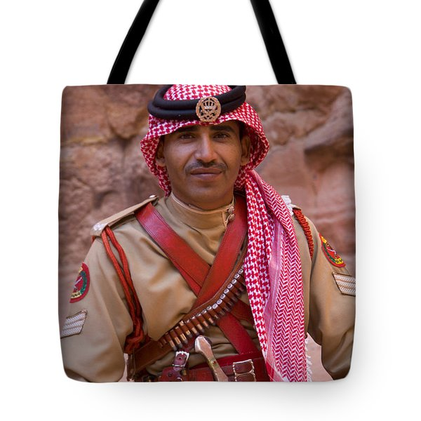 Policeman In Petra Jordan Tote Bag by David Smith