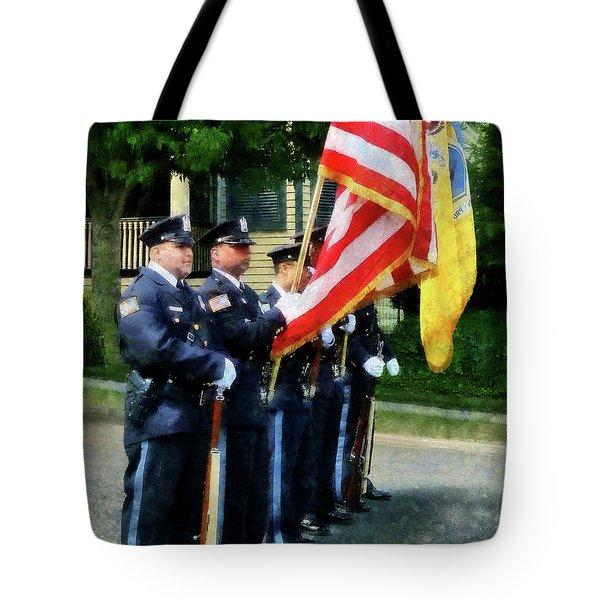 Policeman - Police Color Guard Tote Bag by Susan Savad