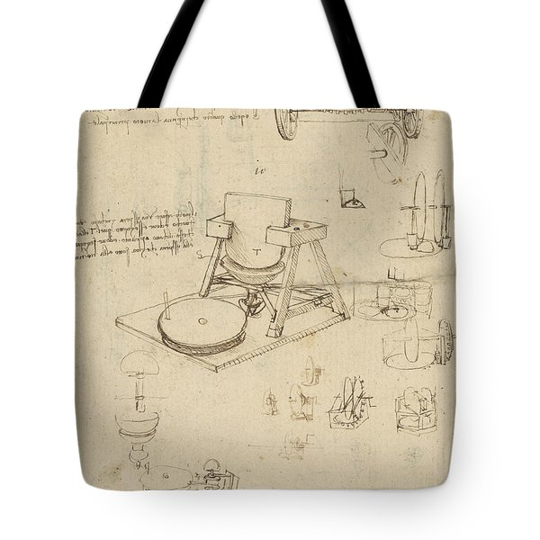 Polishing Machine Formed By Two Wheeled Carriage From Atlantic Codex Tote Bag by Leonardo Da Vinci
