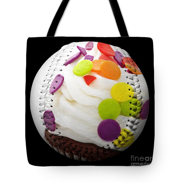 Polka Dot Cupcake Baseball Square Tote Bag by Andee Design