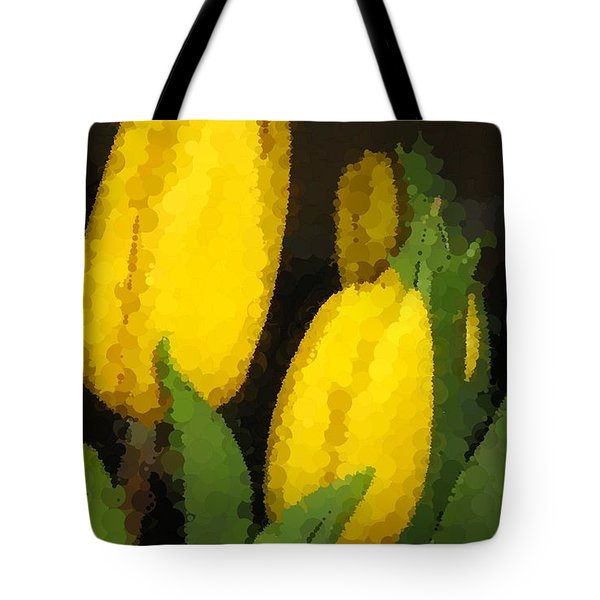 Polka Dot Yellow Tulips Tote Bag by Barbara Griffin