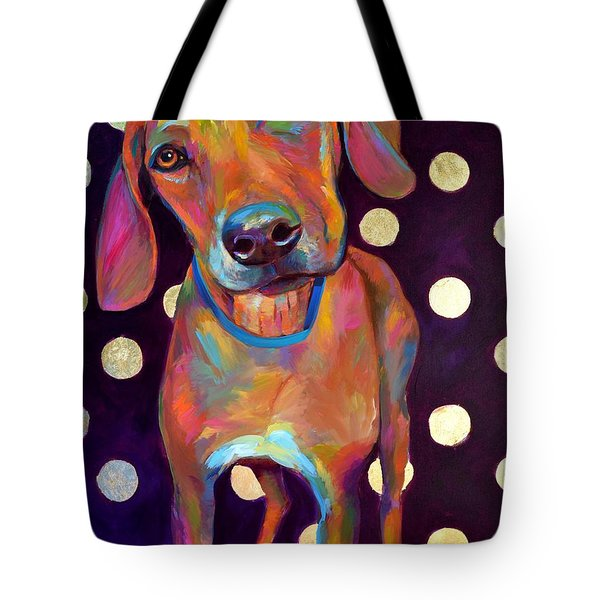 Tote Bag featuring the painting Polka Pooch by Robert Phelps