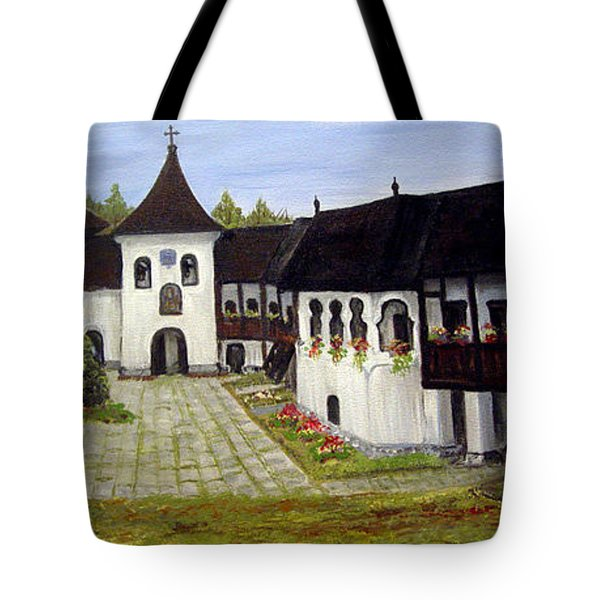 Tote Bag featuring the painting Polovragi Monastery Romania by Dorothy Maier