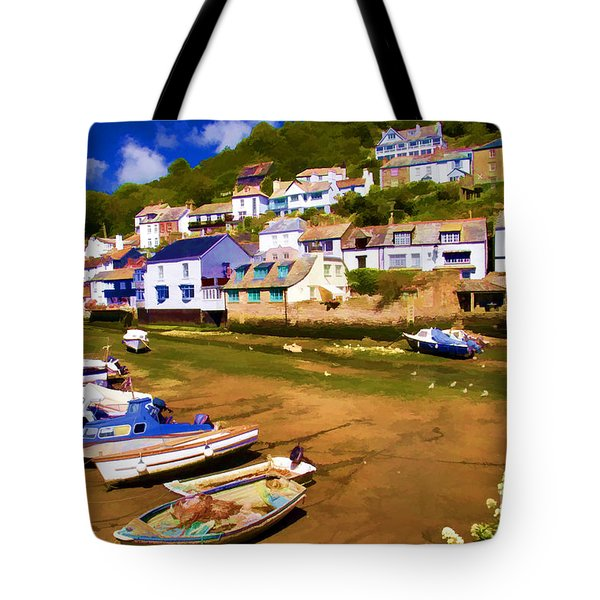 Polperro At Low Tide Tote Bag by David Smith