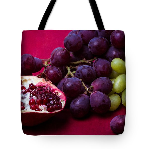 Pomegranate And Green And Red Grapes Tote Bag by Alexander Senin