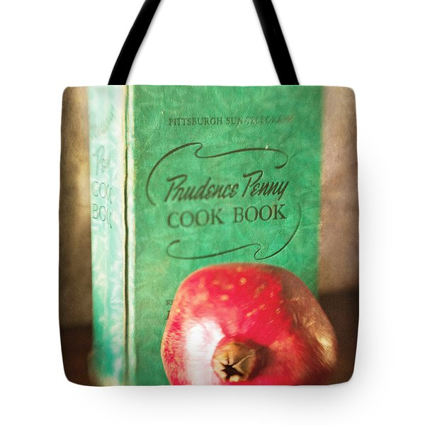 Pomegranate And Vintage Cook Book Still Life Tote Bag