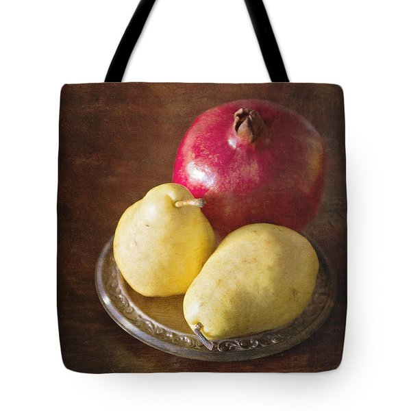 Pomegranate And Yellow Pear Still Life Tote Bag