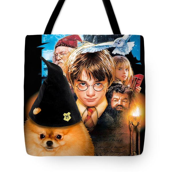 Pomeranian Art Canvas Print - Harry Potter Movie Poster Tote Bag
