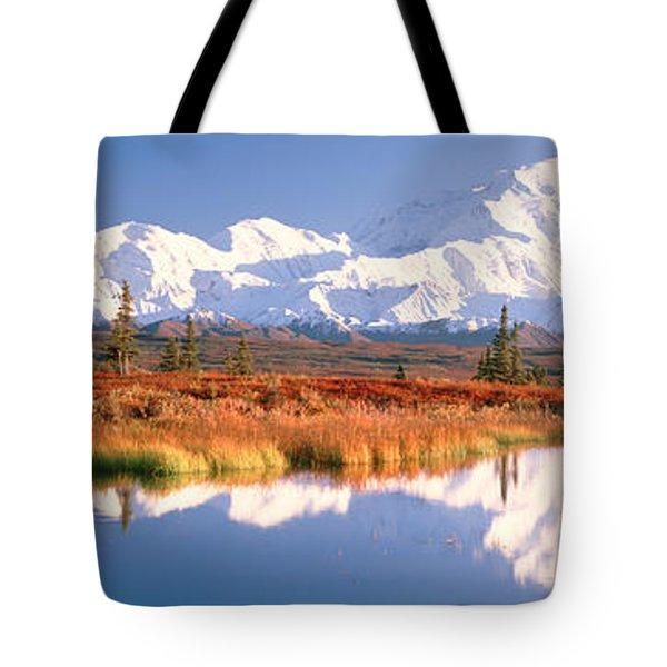 Pond, Alaska Range, Denali National Tote Bag