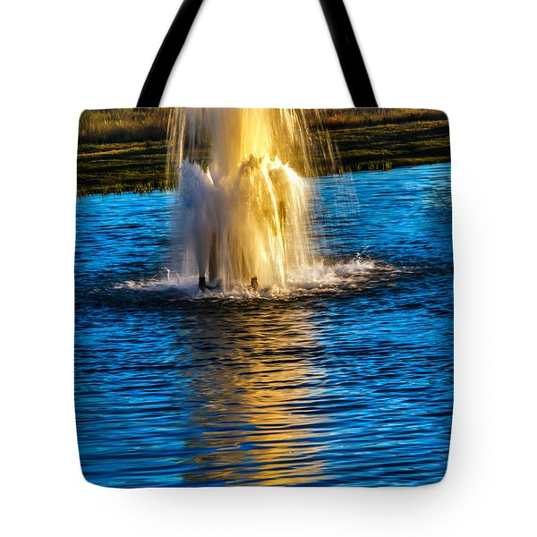 Pond Fountain Tote Bag by Robert Bales