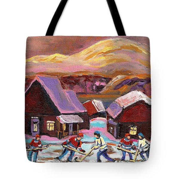 Pond Hockey Cozy Winter Scene Tote Bag by Carole Spandau