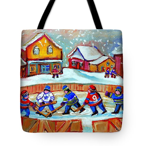 Pond Hockey Game Tote Bag by Carole Spandau