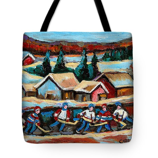 Pond Hockey Game In The Country Tote Bag by Carole Spandau