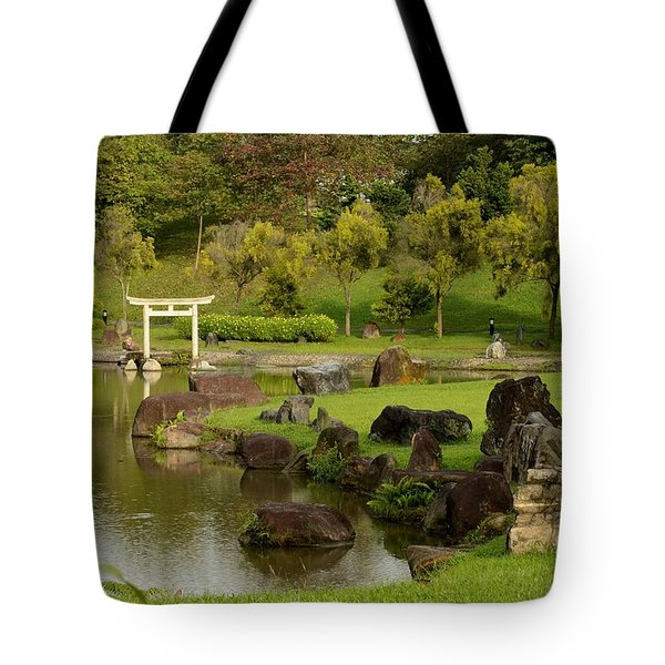 Pond Rocks Grass And Japanese Arch Singapore Tote Bag