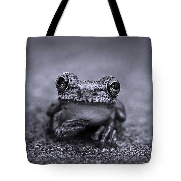 Pondering Frog Bw Tote Bag by Laura Fasulo